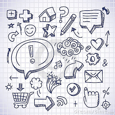 Free Doodle Internet Icons Royalty Free Stock Photo - 21649615