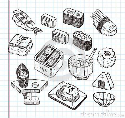 Doodle Japanese food icon set
