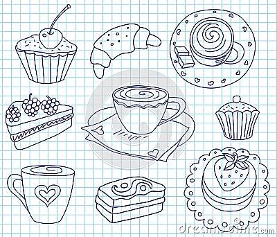 Doodle kawy set