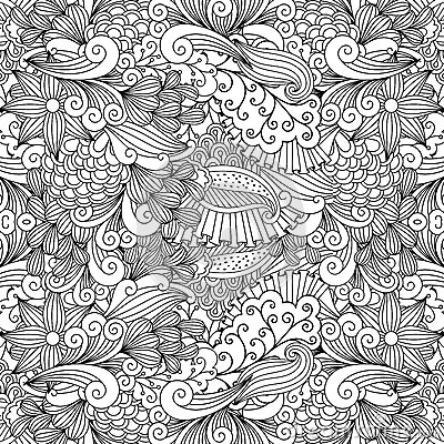 Free Doodle Leaf And Swirls Background Stock Photography - 87846082
