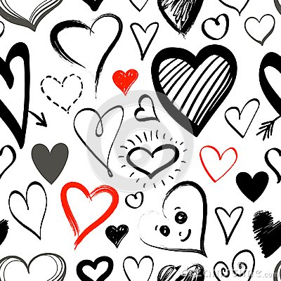 Free Doodle Line Heart Icons Seamless Pattern Stock Photography - 107939732