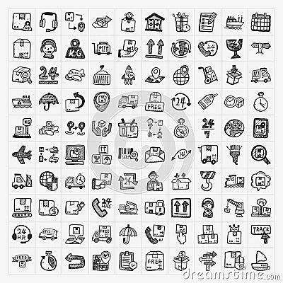 Doodle logistics icons set