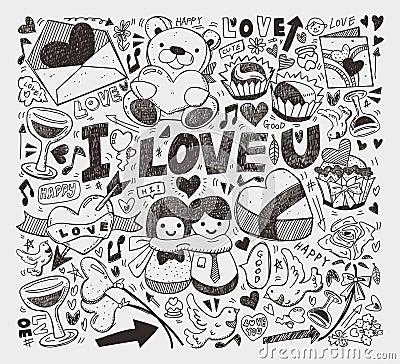Doodle miłości element