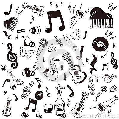 Doodle music icon set