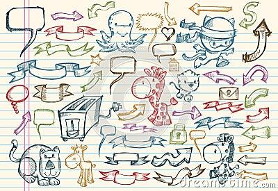 Doodle notatnika ustalony nakreślenia wektor