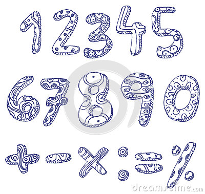 Free Doodle Numbers And Math Signs Stock Photography - 25976992