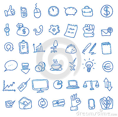 Free Doodle Office, Business Icons Set, Stock Image - 58294781