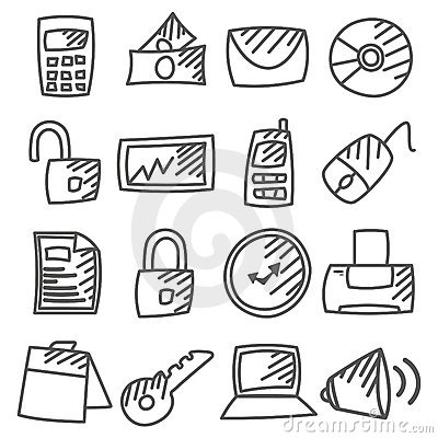 Doodle: Office  icons set