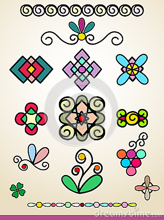 Doodle ornaments, decorations and dividers