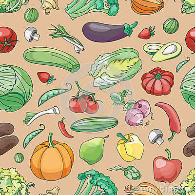 Free Doodle Pattern Of Vegetables Stock Photography - 66653572