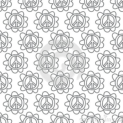 Doodle Peace Sign. Seamless background.
