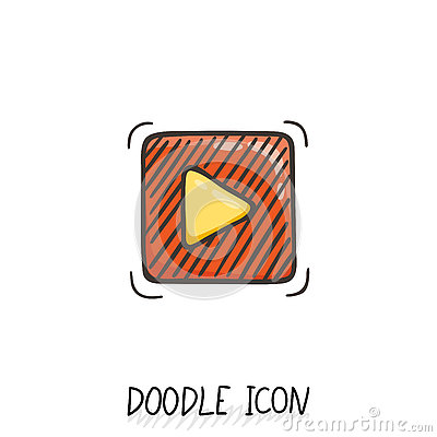 Free Doodle Play Button Web Icon. Vector Illustration. Stock Photos - 80409843