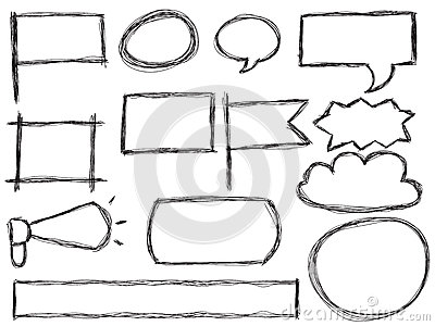 Doodle ramy i mowa bąble