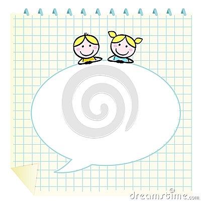 Doodle school children with Notepad.