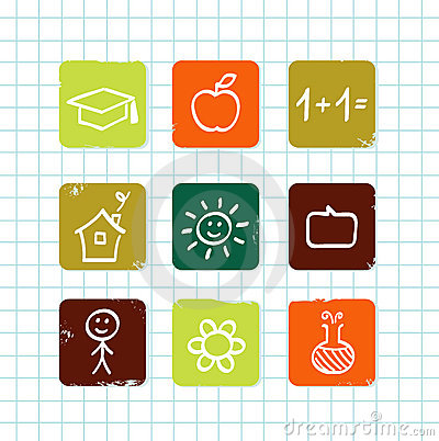 Doodle school & education icons collection