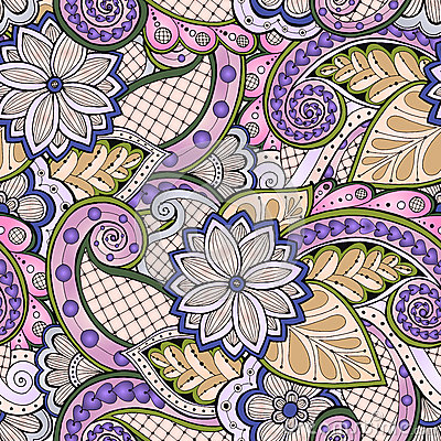 Free Doodle Seamless Background In Vector With Doodles, Flowers And Paisley. For Wallpaper, Pattern Fills. Royalty Free Stock Photography - 69416117