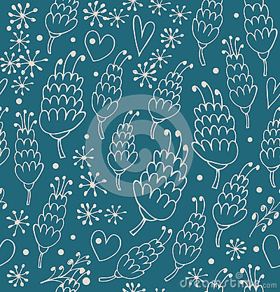 Doodle seamless pattern with flowers and hearts. Endless cute background for prints, textile, scrapbooking