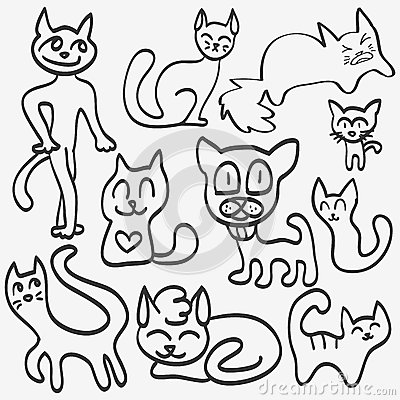 Doodle set of cats