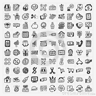 Free Doodle Shopping Icons Set Stock Image - 36062921