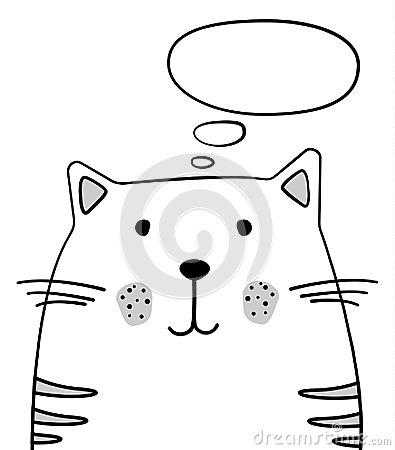 Free Doodle Sketch Cat With Thought Cloud Illustration. Cartoon Vector Cat With Thinking Bubble. Pet. Domestic Animal. Postcard, Poster Royalty Free Stock Photos - 117431098