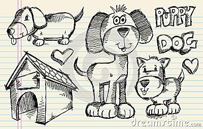 Doodle Sketch Puppy Dog set