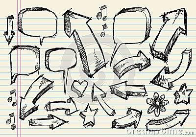Doodle Sketch Speech Bubble Arrow Vector set
