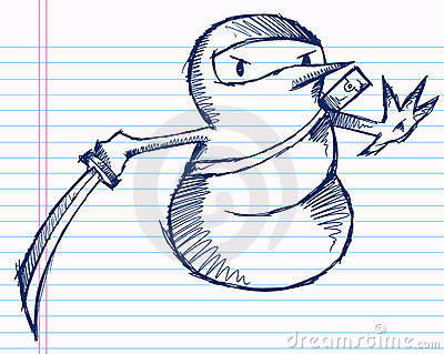 Doodle Sketch Winter Holiday Ninja Snowman
