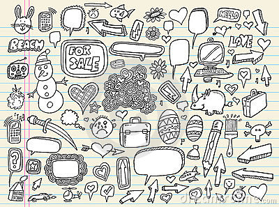 Doodle Speech Bubble Design Elements set