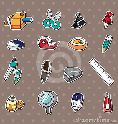 Free Doodle Stationery Stickers Royalty Free Stock Photos - 24538238
