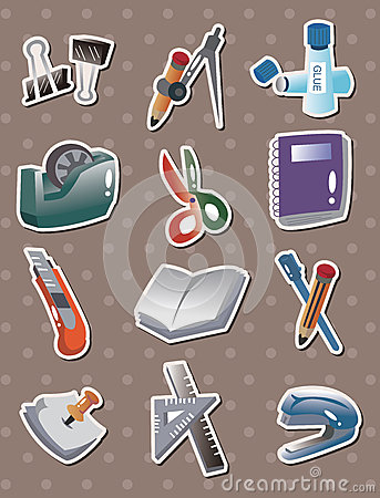 Free Doodle Stationery Stickers Stock Images - 26731524