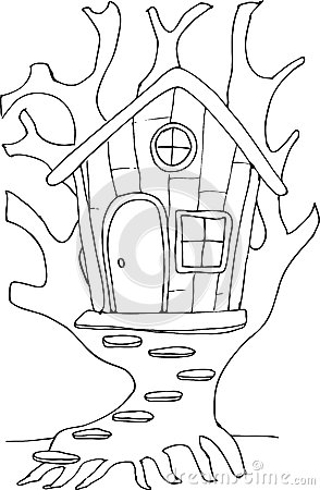 Doodle Style Fairy Tree House Stock Vector