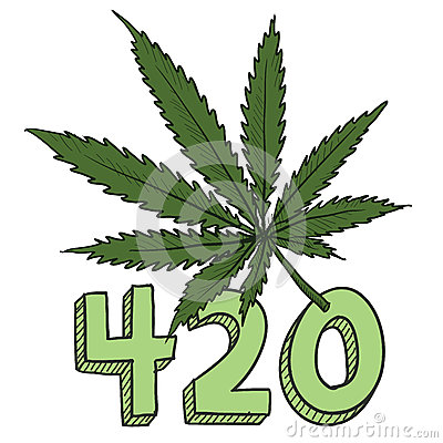 Marijuana leaf sketch in vector format includes text and pot plant