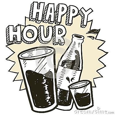 Szczęśliwej godziny alkoholu nakreślenie