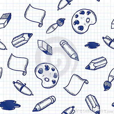 Doodle tools seamless pattern