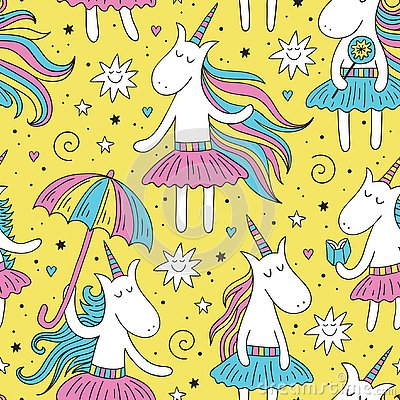 Free Doodle Unicorn Seamless Pattern With Yellow Background Stock Image - 126856021