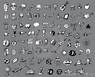 Doodle vector icons collection