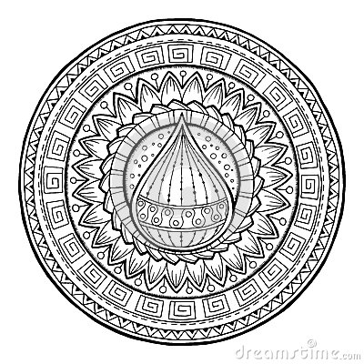 Free Doodle Water Drop On Tribal Mandala. Royalty Free Stock Images - 62830239