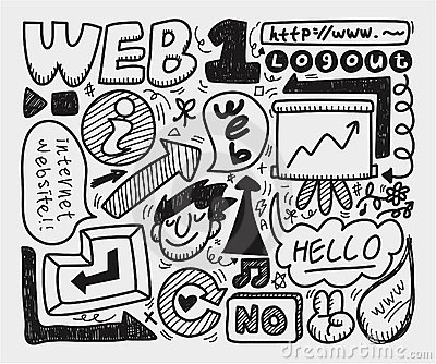 Doodle web element icon set