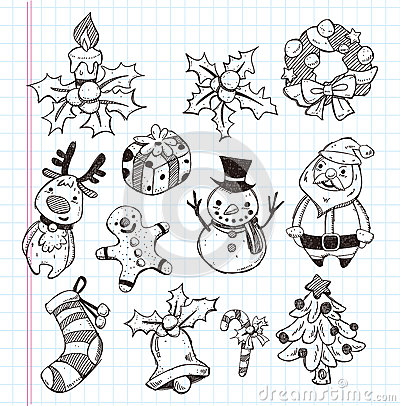 Doodle xmas element icon set