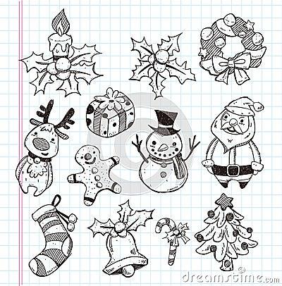 Doodle xmas element icon set