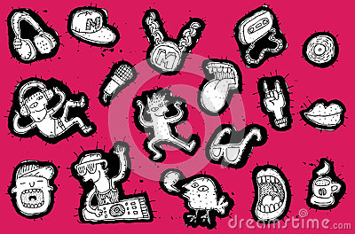 Doodled musical elements with party people collection