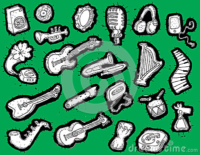 Doodled musical instruments collection