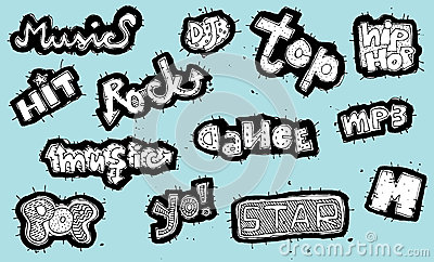 Doodled musical signs collection