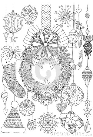 Doodles about Christmas decorative stuffs for adult coloring book pages and Christmas card invitation Vector Illustration