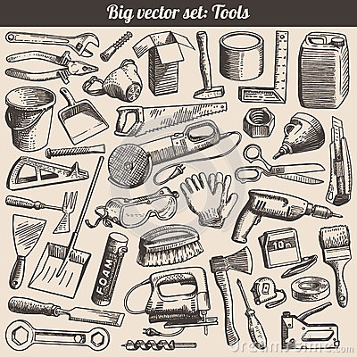 Free Doodles Collection Of Tools Instruments Vector Royalty Free Stock Photos - 29456818