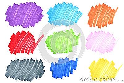 Doodles coloridos da tinta
