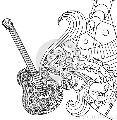 Doodles Design Of Guitar For Coloring Book For Adult Stock