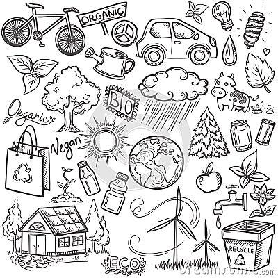 Free Doodles Eco Icon Set Stock Photos - 37536743