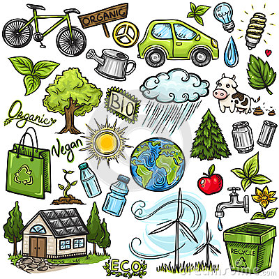 Doodles eco icon set