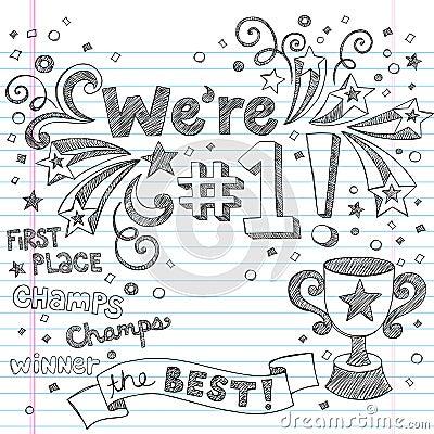 Doodles esboçado do caderno do campeão do troféu dos esportes